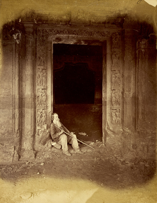 Doorway of Buddhist Vihara, Cave XXIV, Ajanta, with Major Gill seated in entry